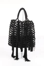 Jimmy Choo Black Delilah Tassels Petrol Crochet Rope Tote Shoulder Hand Bag