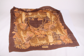 Salvatore Ferragamo Translucent Silk Scarf Tiger Print - brown