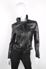 Christian Dior by John Galliano Black Leather Lambskin Belted Zipper Jacket