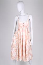 Burberry Checkered Summer Dress - pink/beige/off-white