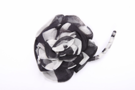 Chanel Silk Camellia Flower Brooch Pin - black/white