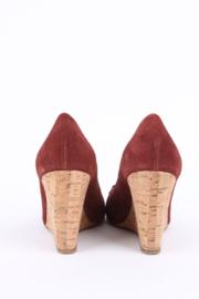 Chanel brown leather CC logo coin detail cork wedge platform sandals