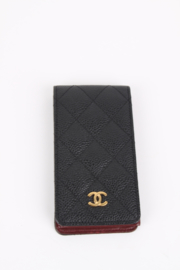 Chanel black classic caviar leather CC logo quilted exterior phone case