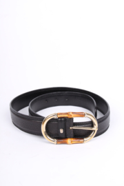 Gucci Vintage Bamboo Buckle Belt - black leather