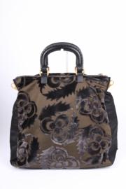 Prada Velluto Jacquard Tote Top Handle Bag - brown/green