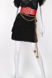 Chanel 1991 Wide Long Chain Medallion Red Leather Belt
