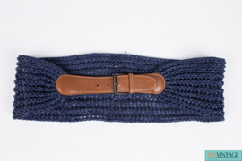 Gucci Belt Leather & Raffia - brown/blue