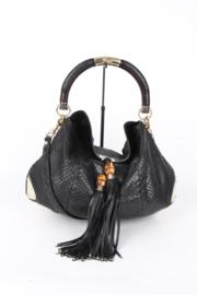 Gucci Tom Ford Indy Black Python Snake Skin Leather Large Gold Coloured Top Handle Hardware Shopper Tote Shoulder Tassle Bamboo Hand Bag