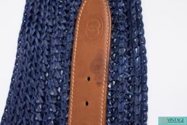 Gucci VINTAGE Belt Leather & Raffia - brown/blue