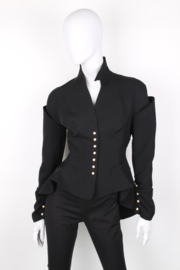 Thierry Mugler Black Wool Asymmetric Pearl Button Blazer