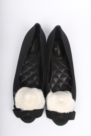 Chanel Satin Camellia Flats - black/white