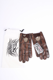 Roberto Cavalli Leather Gloves - dark brown