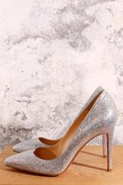 Louboutin Pumps - zilver glitter