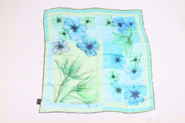 Versace Silk Scarf Flower Print - blue/green/turquoise