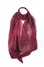 Fendi Silk Logo & Flower Print Scarf - burgundy red