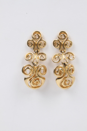 Yves Saint Laurent by Robert Goossens Gold Plated Twirl Design Clip-On Earrings