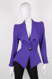 Thierry Mugler Electric Purple Structured Shawl Collar Synched Wasp Waist Long Sleeve Angel Perfume Bottle Starburst Brooch Power Jacket