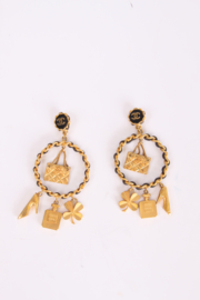 Chanel Iconic Charms Chain Earrings Vintage - gold