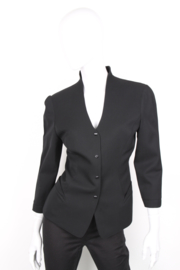 Thierry Mugler Black Wool Stand Up Collar Long Sleeve Blazer