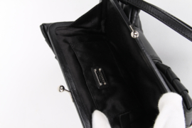 Moschino Cheap And Chic Black Ruffled Leather Silver Colour Hardware Multi Pocket Kisslock Closure Wristlet Clutch Bow Bag