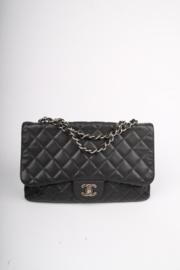 Chanel Timeless Jumbo Single Flap Bag - black caviar leather