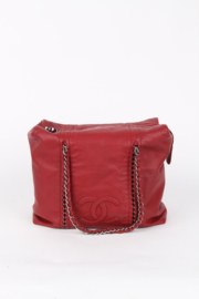 Chanel Red Leather Medium Silver Coloured Chain Hardware Shopper Tote Hand Bag