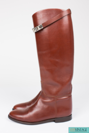 Hermès Jumping Riding Equestrian Leather Boots - brown