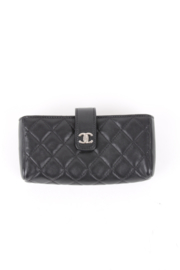 Chanel Black Quilted Leather Flap iPhone Case / Bag