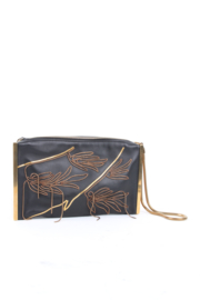 Lanvin by Alber Elbaz Black Leather Gold Bronze Embellished Clutch Wristlet