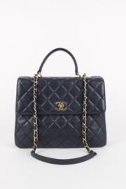 Chanel Large Blue CC Flap Top Handle Shoulder Bag Gold Hardware