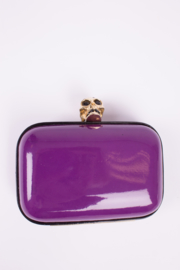 Alexander McQueen Skull Box Clutch - purple patent leather