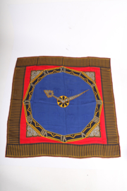 Must de Cartier Scarf Jewelled Clock Print - blue/red/gold