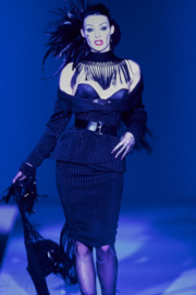 Thierry Mugler pinstripe jacket with asymmetric silk tassle shawl