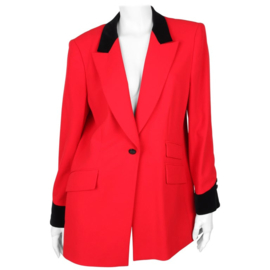Escada Red Wool Velvet Equestrian Riding Blazer XL