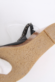 Chanel Black Leather Chain Entwined Open Toe CC Logo High Heel Strappy Cork Wedge Sandals