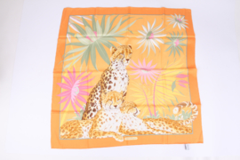 Salvatore Ferragamo Silk Scarf Leopard & Flower - orange/pink/green