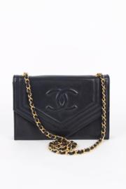 Chanel 1980's Dark Blue Lambskin Leather CC Logo Gold Plated Hardware Envelope Shoulder Flap Bag