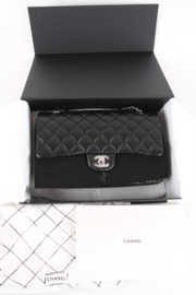 Chanel Timeless Medium Black Leather Double Flap Lambskin Leather Silver Hardware Shoulder Bag
