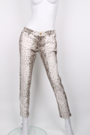 Gucci Grey White Cotton Snakeprint Leggings Jeans Trousers