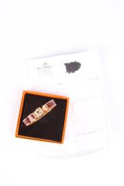 Hermes Charniere Bracelet Alligator Leather Rose Gold - brown