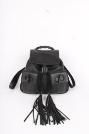 Gucci Bamboo Tassel Leather Backpack - black