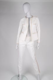 Chanel 2-pcs Cotton Suit Jacket & Pants - white