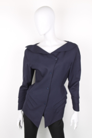 Thierry Mugler Navy Blue Asymmetric Synched Long Sleeve Jacket