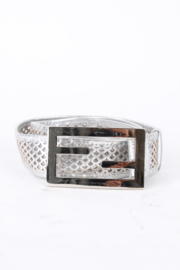Fendi Silver Leather Perforated Fish Scale Buckle Belt