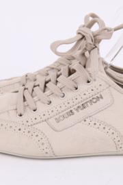 Louis Vuitton Light Beige Nubuck Leather Lace Up Brogue Sneakers