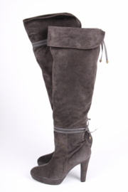 Frida Suede Knee-High Boots - grey