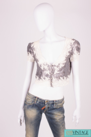 Christian Dior Knitted Lace Top - silver/white