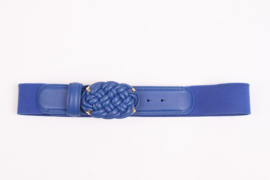 Versace Leather and Elastic Belt - blue