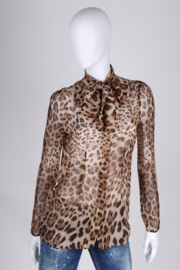 Dolce & Gabbana Animal Print Silk Blouse - brown