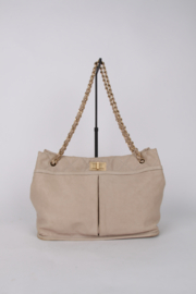 Chanel Beige Quilted Leather Medium Gold Coloured Hardware Shoulder Shopper Hand Bag
